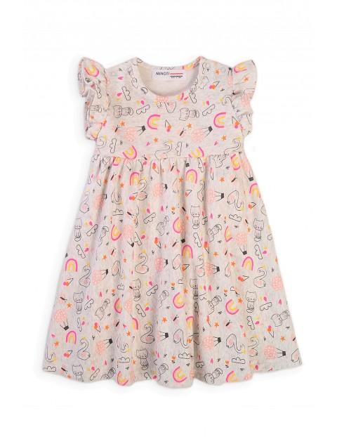Bawełniana sukienka niemowlęca z nadrukiem