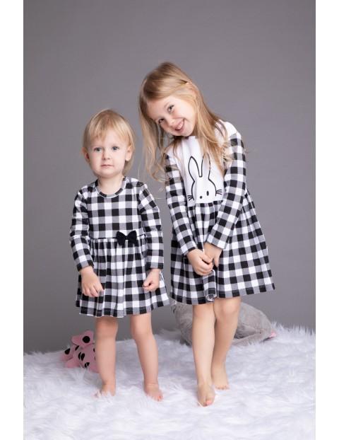 Bawełniana sukienka dziewczęca w kratkę