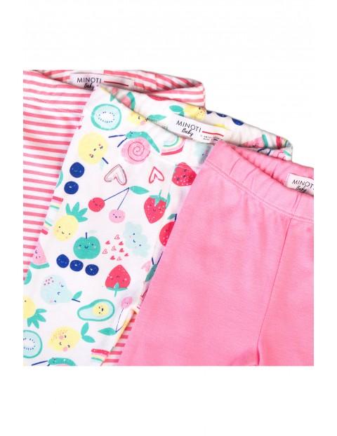 Kolorowe leginsy- bawełniany komplet niemowlęcy - 3pak