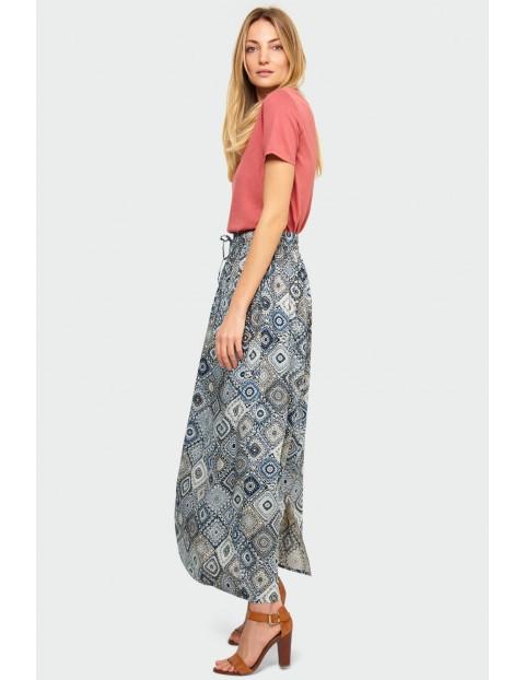 Wiskozowa szara, długa spódnica z nadrukiem z wiązaniem