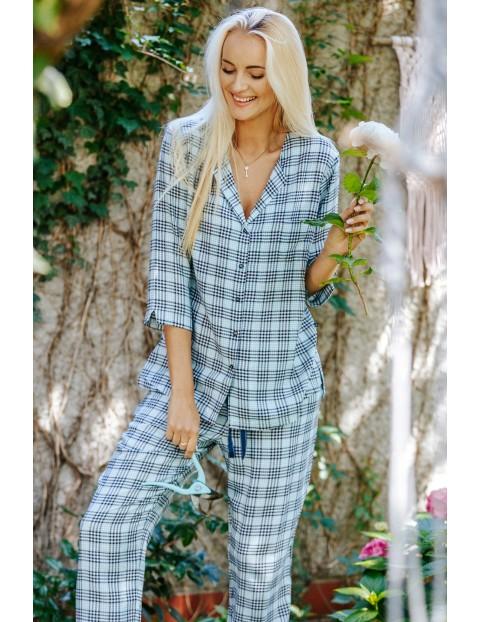 Piżama kobieca - koszula i długie spodnie w kratkę
