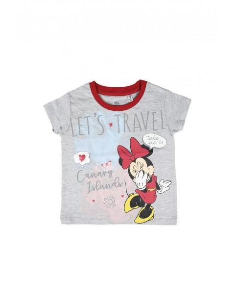 T-shirt dziecięcy z nadrukiem Minnie-szary