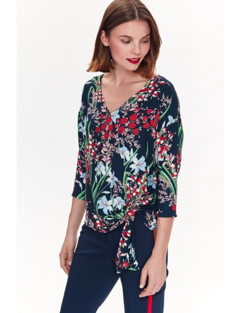 Bluzka damska - granatowa w kolorowe kwiaty