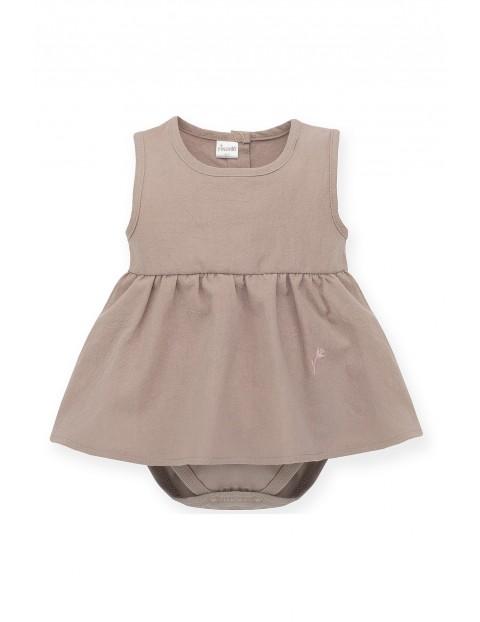 Sukienka-body na ramiączka brązowa
