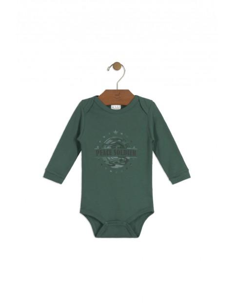 Body niemowlęce zielone z napisem- Peace Solider