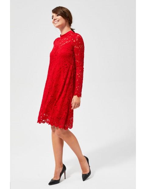 Czerwona sukienka damska- koronkowa