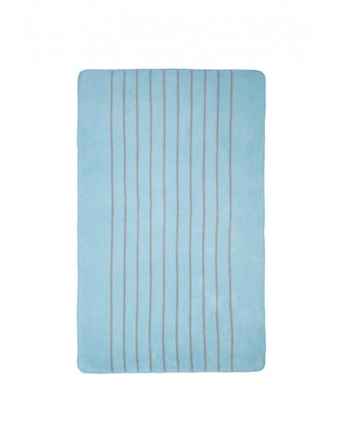 Koc bawełniany niebiesko szare paski 75 x 100 cm