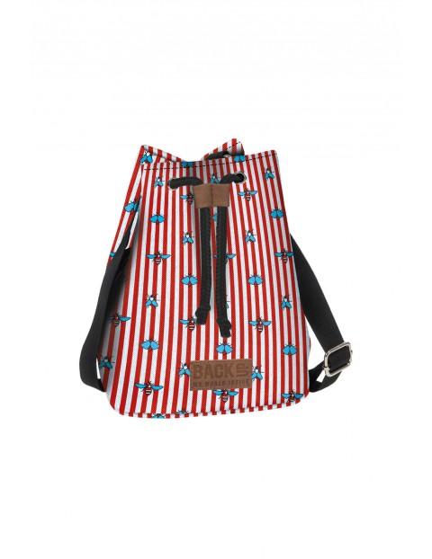 Plecak 2w1 Canvas dziewczęcy czerwono-biały w paski