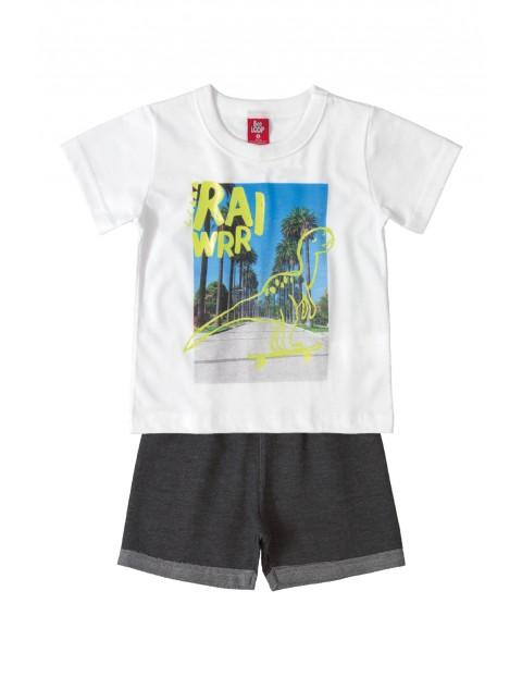 Komplet chłopięcy - t-shirt z dinozaurem i spodenki
