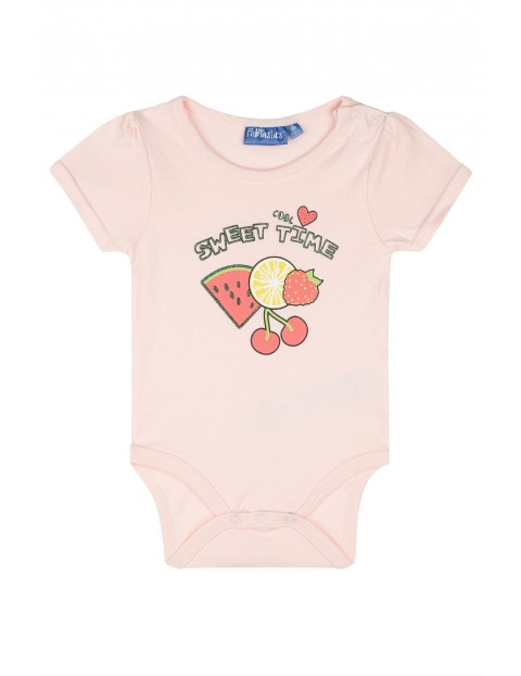 Różowe body dziewczęce z krótkim rękawem- sweet time