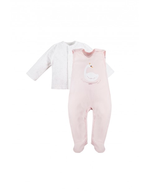 Komplet niemowlęcy SWAN- kaftanik i śpiochy