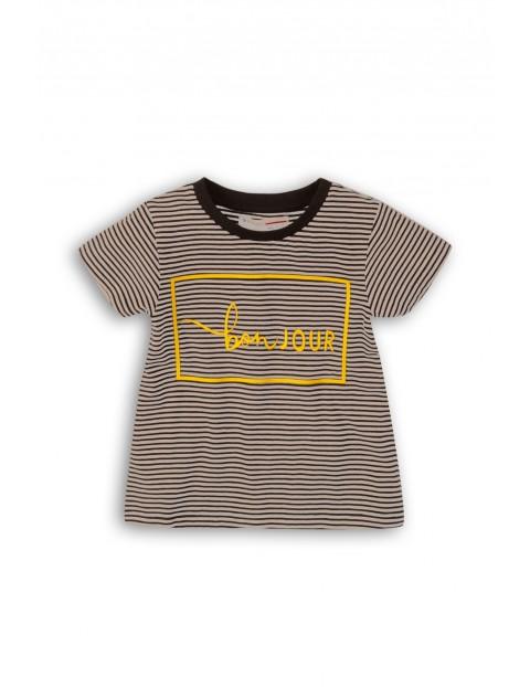 T-Shirt dziewczęcy w paski ze złotym napisem