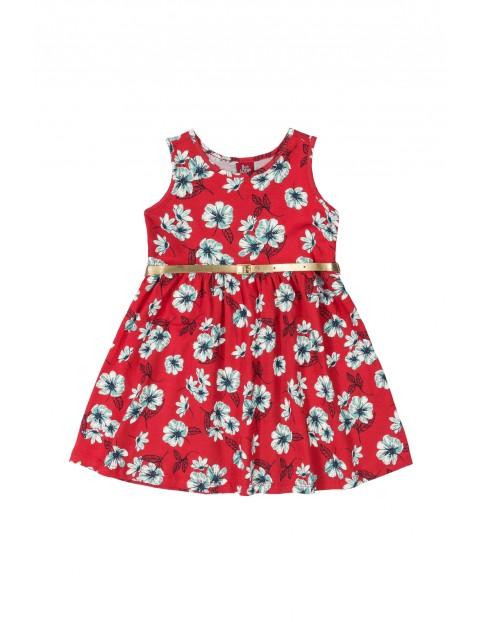 Sukienka dziecięca czerwona w kwiatki- złoty pasek