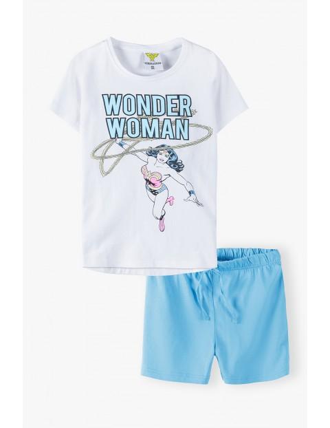 Bawełniana piżama dziewczęca Wonder Woman - T-shirt + spodenki