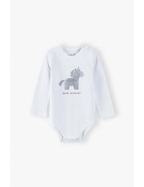 Body niemowlęce na długi rękaw z jednorożcem - białe