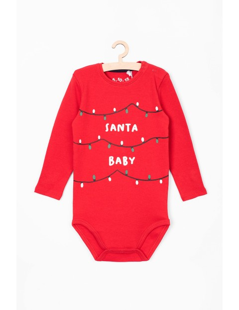 Czerwone świąteczne body dla niemowlaka