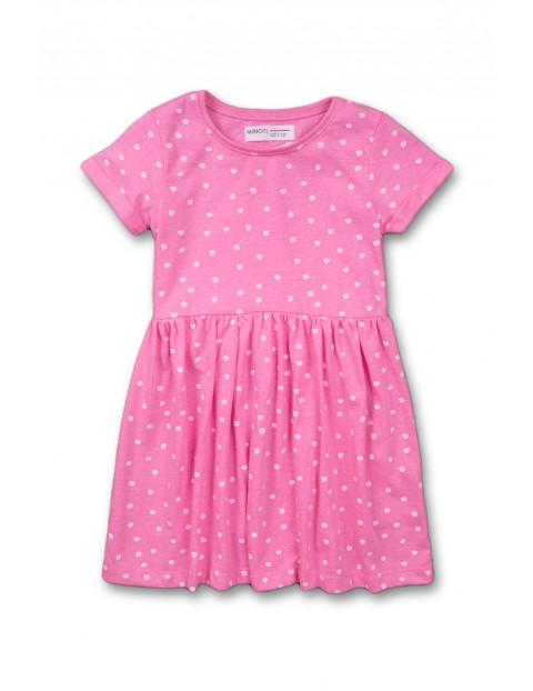 Sukienka dziewczęca na lato-różowa w kropki