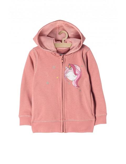 Bluza sportowa dla dziewczynki- różowa z jednorożcem