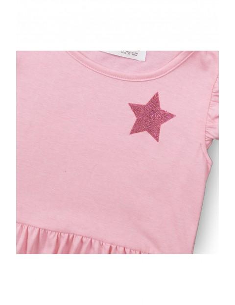 Sukienka dziewczęca różowa z gwiazdką