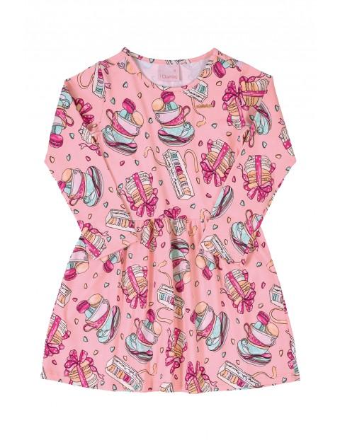 Sukienka dziewczęca we wzorki - różowa