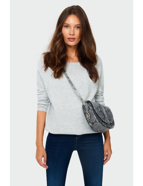 Sweter damski z ozdobna fakturą - szary