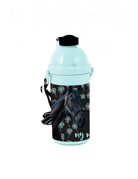 Bidon czarny z konikiem - 500 ml