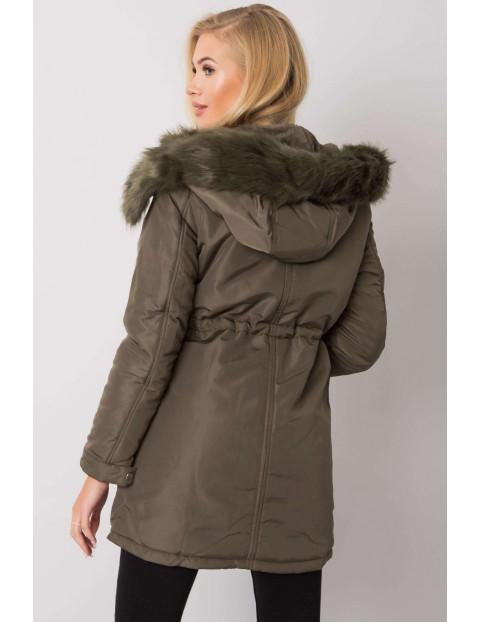 Khaki dwustronna kurtka zimowa damska