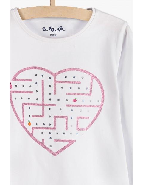 Biała bluzka z nadrukiem dla dziewczynki- serduszko labirynt