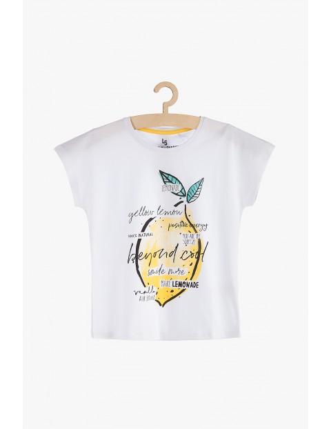 T-Shirt dziewczęcy biały z nadrukiem cytryny