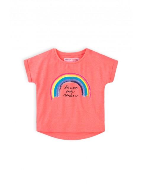 T-shirt dziewczęcy różowy z tęczą