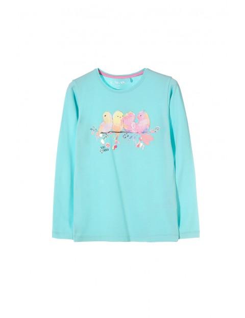 Bluzka dziewczęca niebieska z wiosennym motywem i ptakami