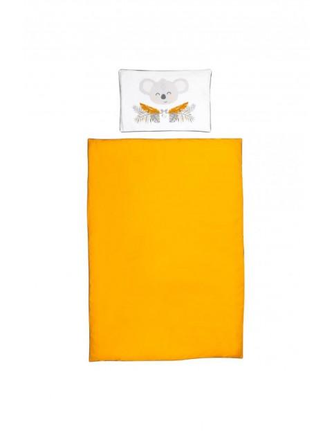 Bawełniana pościel  łóżka dziecięcego w kolorze musztardowym - 135x100
