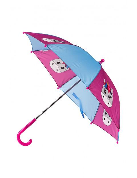 Parasolka dziewczęca niebiesko różowa z jednorożcem