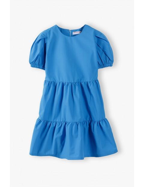 Sukienka dziecięca rozkloszowana w kolorze morskim