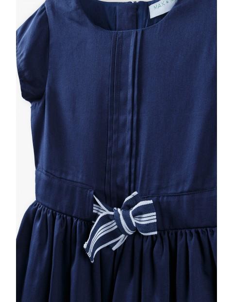 Sukienka na krótki rękaw z kokardką - granatowa