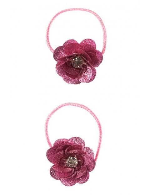 Gumki do włosów- różowe kwiatki