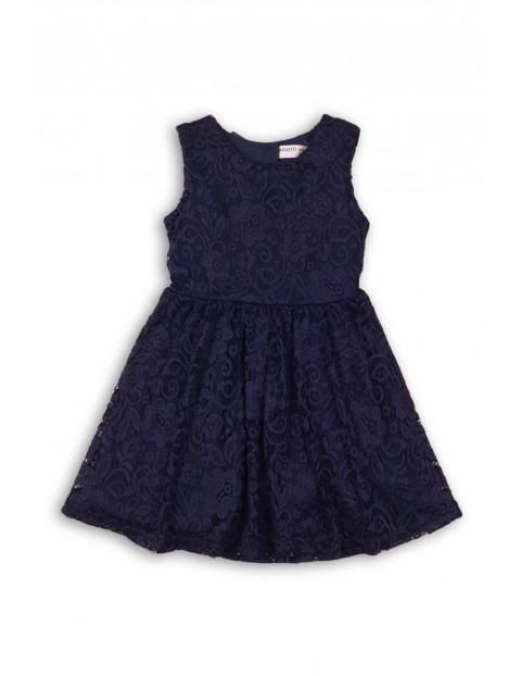 3979a48729 Elegancka granatowa sukienka z koronki z kokardą