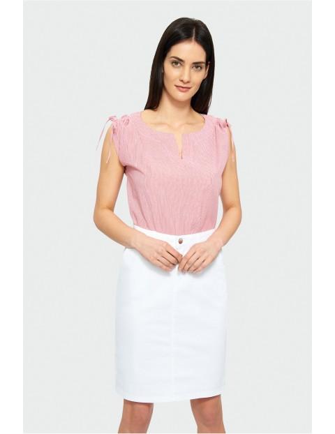 Bluzka bez rękawów- różowo-białe paski