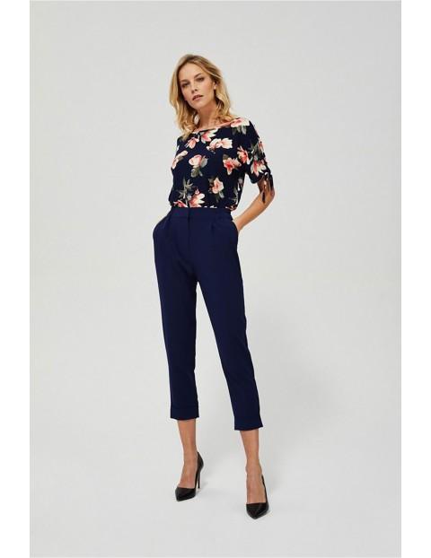 Eleganckie spodnie damskie typu cygaretki - granatowe