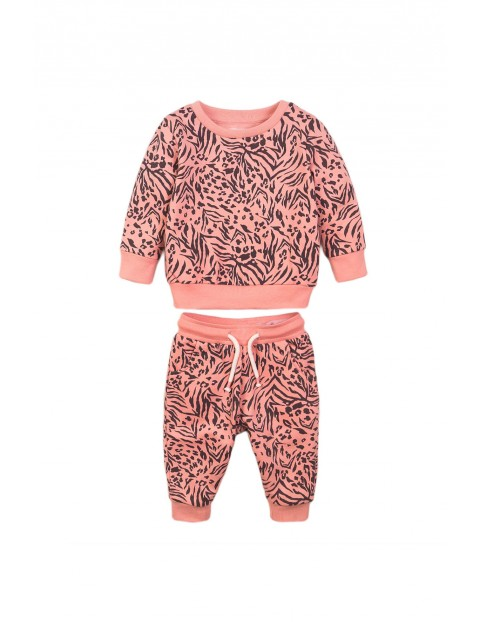 Komplet dziewczęcy bluza i spodnie - różowy w panterkę