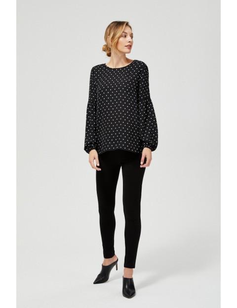 Czarna bluzka koszulowa w groszki