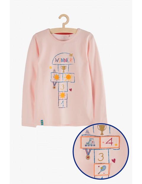 Bluzka dziewczęca różowa z odpinanymi rzepami- gra w klasy
