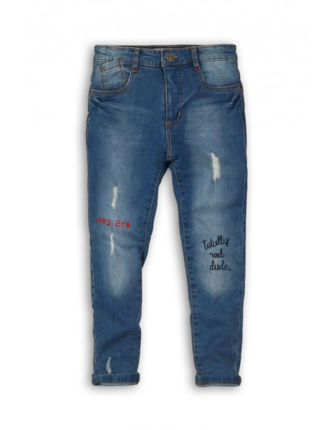 Spodnie jeansowe z przetarciami i nadrukami