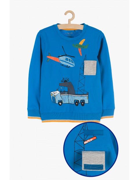 Bluzka chłopięca niebieska z samochodem