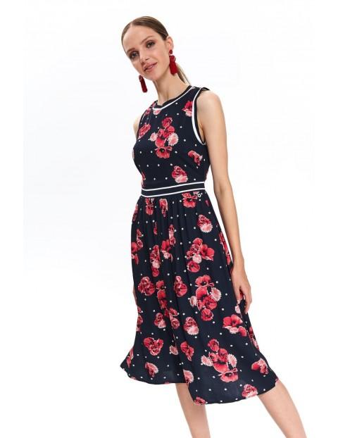 Granatowa sukienka damska w różowe kwiaty
