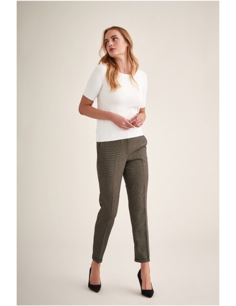 Spodnie damskie tkaninowe brązowe