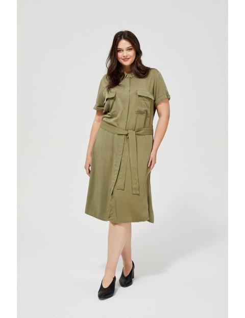 Sukienka damska oliwkowa z krótkim rękawem