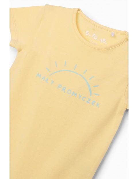 Body dziewczęce z napisem Mały Promyczek - żółte
