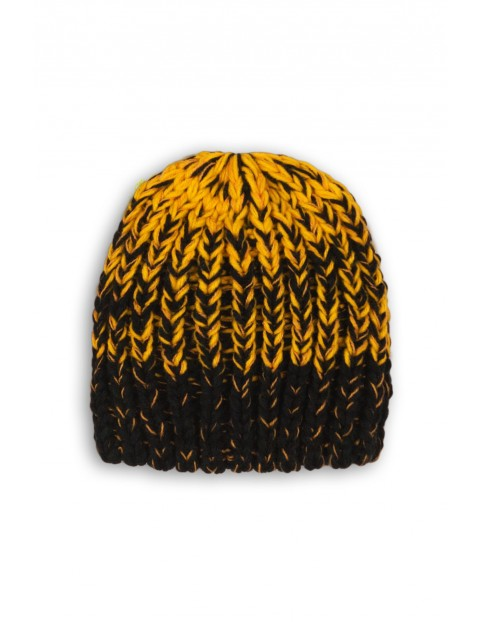 Czapka chłopięca żółto-czarna- zimowa