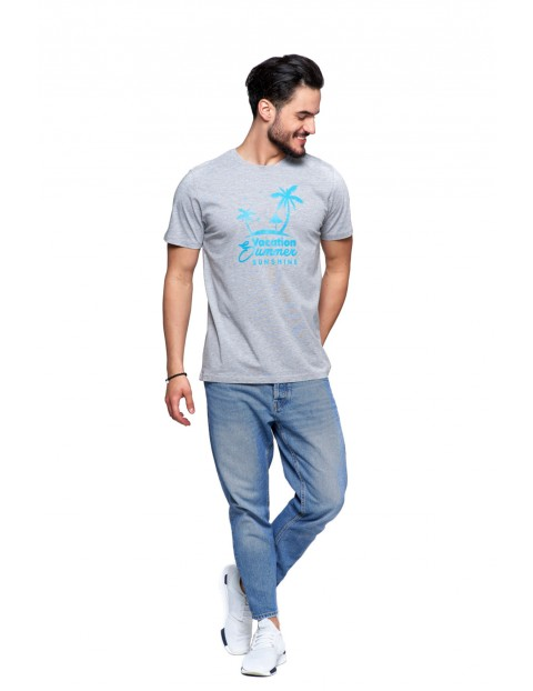 T-shirt bawełniany o regularnym kroju- szary z napisem Vacation